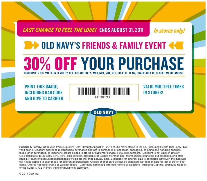 ONtourage offer will be texted to you within approximately 24 hours of opt-in and can be redeemed until the expiration date stated in the offer. Offer available for first time subscribers only. Offer valid on Old Navy merchandise in the U.S. (including Puerto Rico) and Canada at Old Navy stores and online.