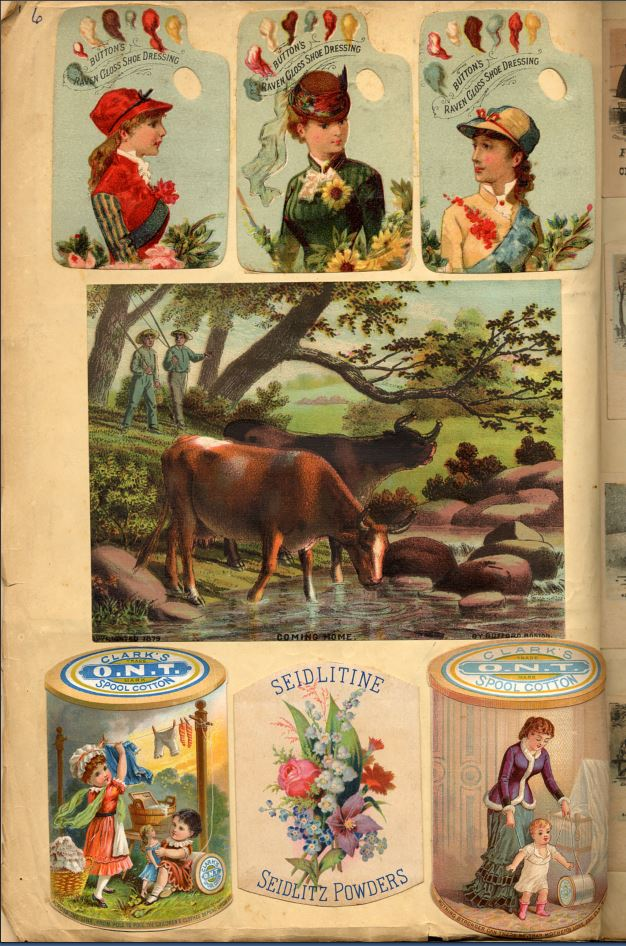 three cards feature women in hats over image of boys coming home below which two cards for Clark's thread frame a card for Seidlitz Powders