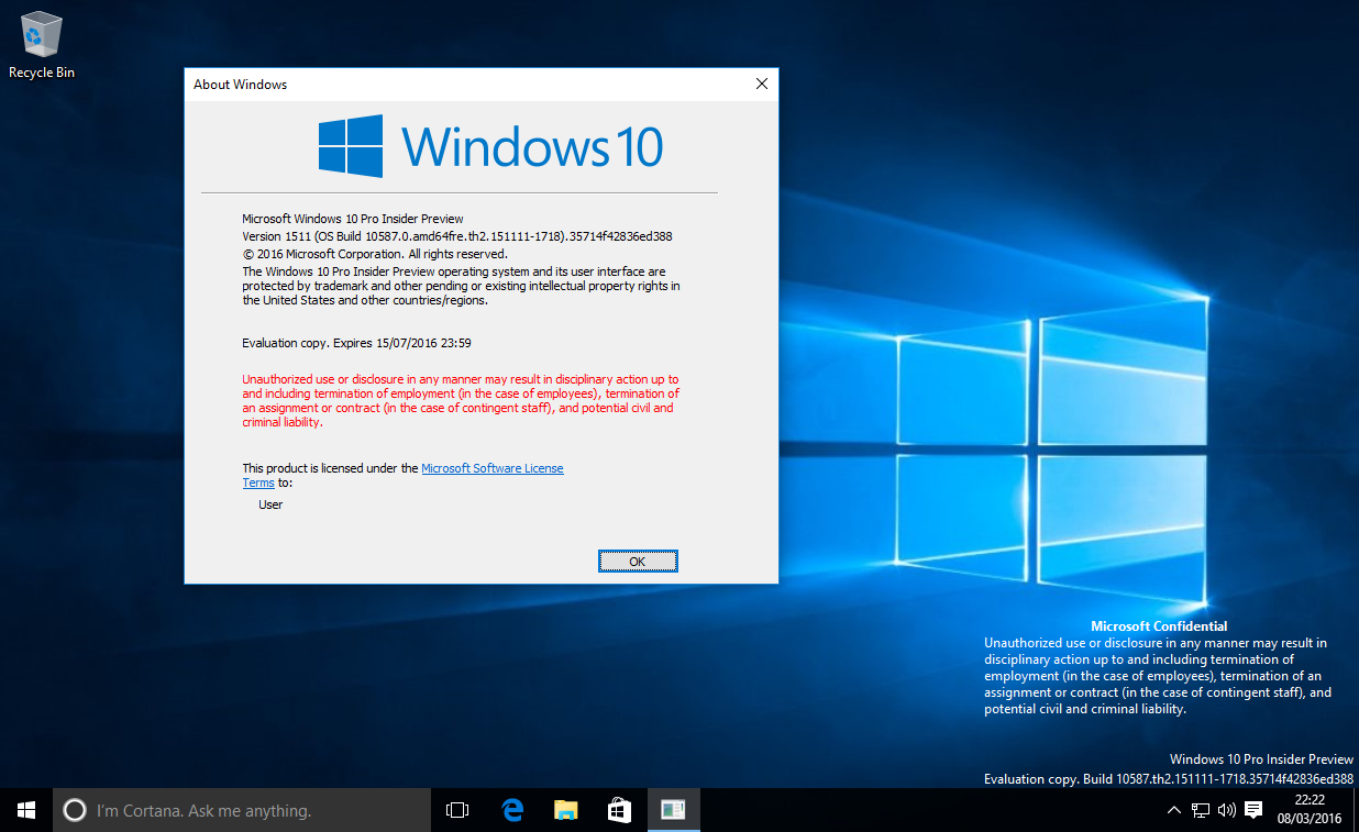Windows 10: misteriosa Build 10587 trapelata in rete HTNovo