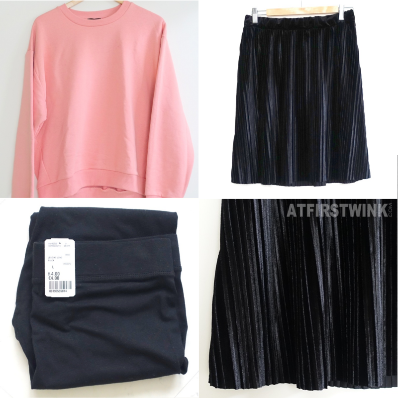 Pieces black velvet skirt with pleats Topshop pink sweater Forever 21 black legging