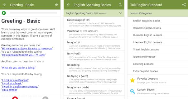 تطبيق Talk English Standard للتكلم الانجليزي بطلاقة للأندرويد