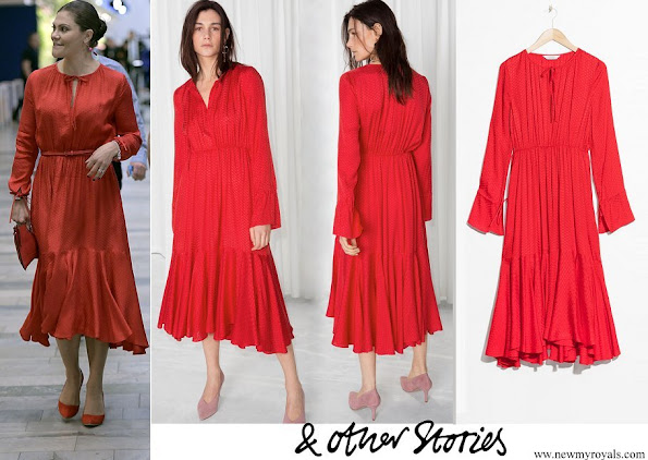 Crown Princess Victoria of Sweden wore & Other Stories Midi Tie Neck Dress