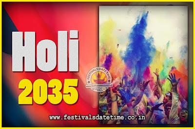 2035 Holi Festival Date & Time, 2035 Holi Calendar