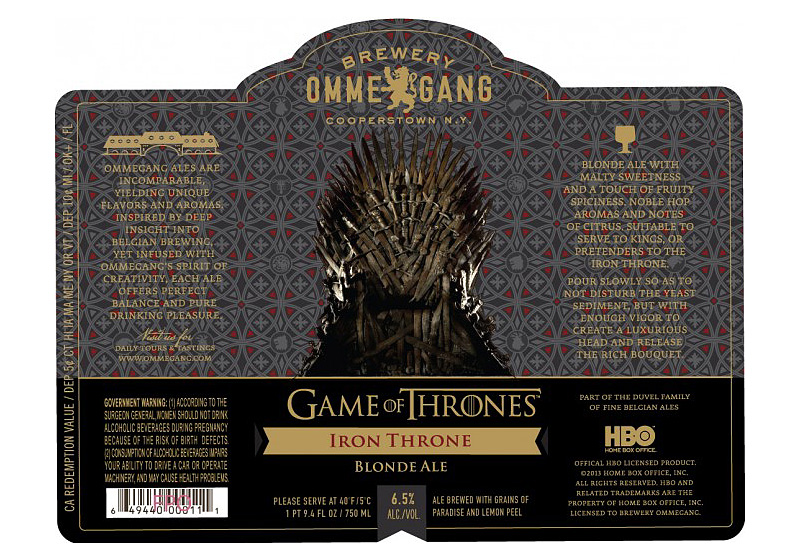 label for GoT beer Iron Throne Blonde Ale