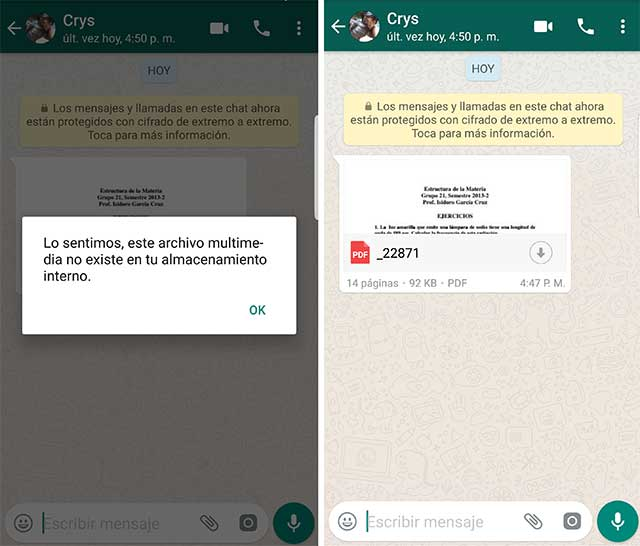 recuperar documentos eliminados de whatsapp