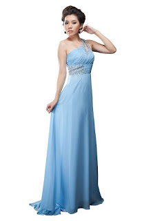 unique cheap ice blue one shoulder prom dresses for juniors