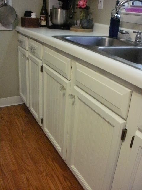 Lower cabinets painted white