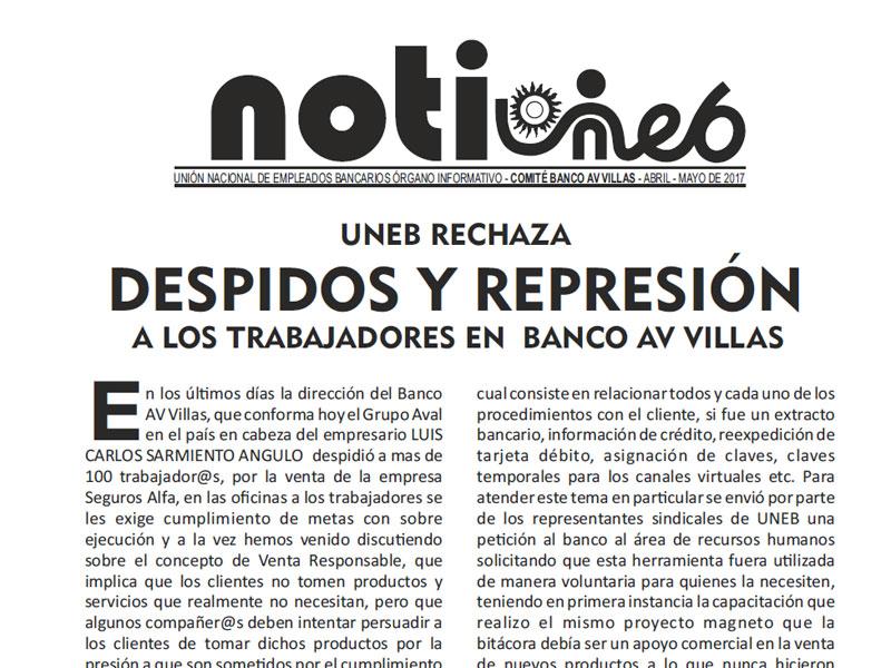 Uneb rechaza despidos y represión a los trabajadores en Banco AV Villas