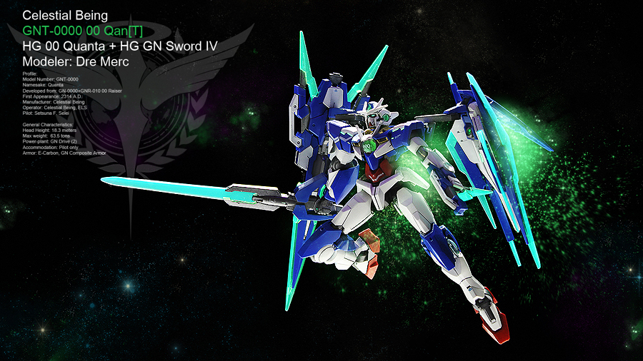 hg 00 quanta with gn sword iv full saber modeled by dre