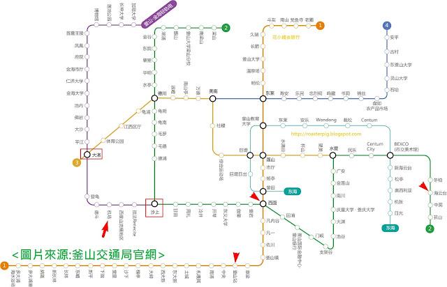 金海輕軌及釜山巿地下鐵路線圖