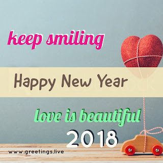 love balloon connected to toy car LOVE greetings on Happy new Year 2018