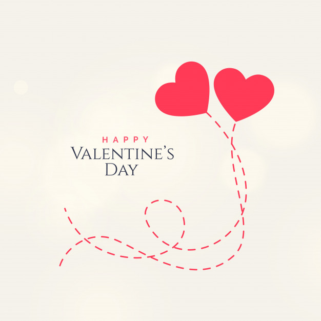 Sweet valentine's day card design with two floating hearts Free Vector