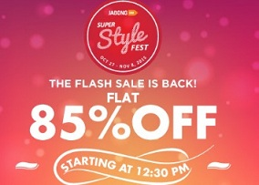 Jabong Flash Sale: Clothing, Footwear & Accessories – Flat 85% Off + 5% Extra Off