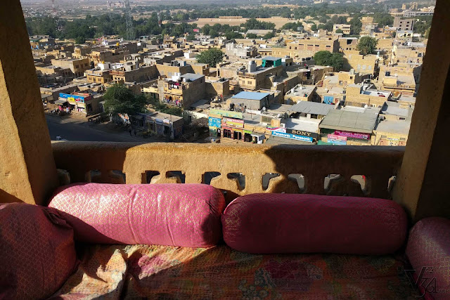 Jaisalmer city view from of one of the heritage hotel room's jharokha, inside the golden fort