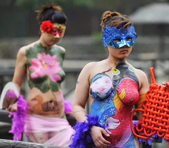 Arts And Crafts Ideas Projects Funny Body Painting On Women