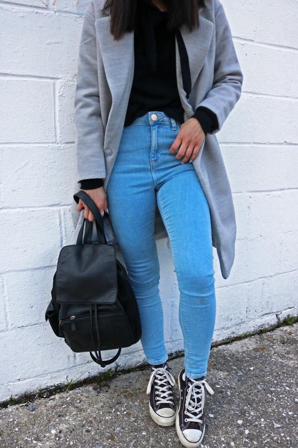 Gray Coat Blue Jeans Converse