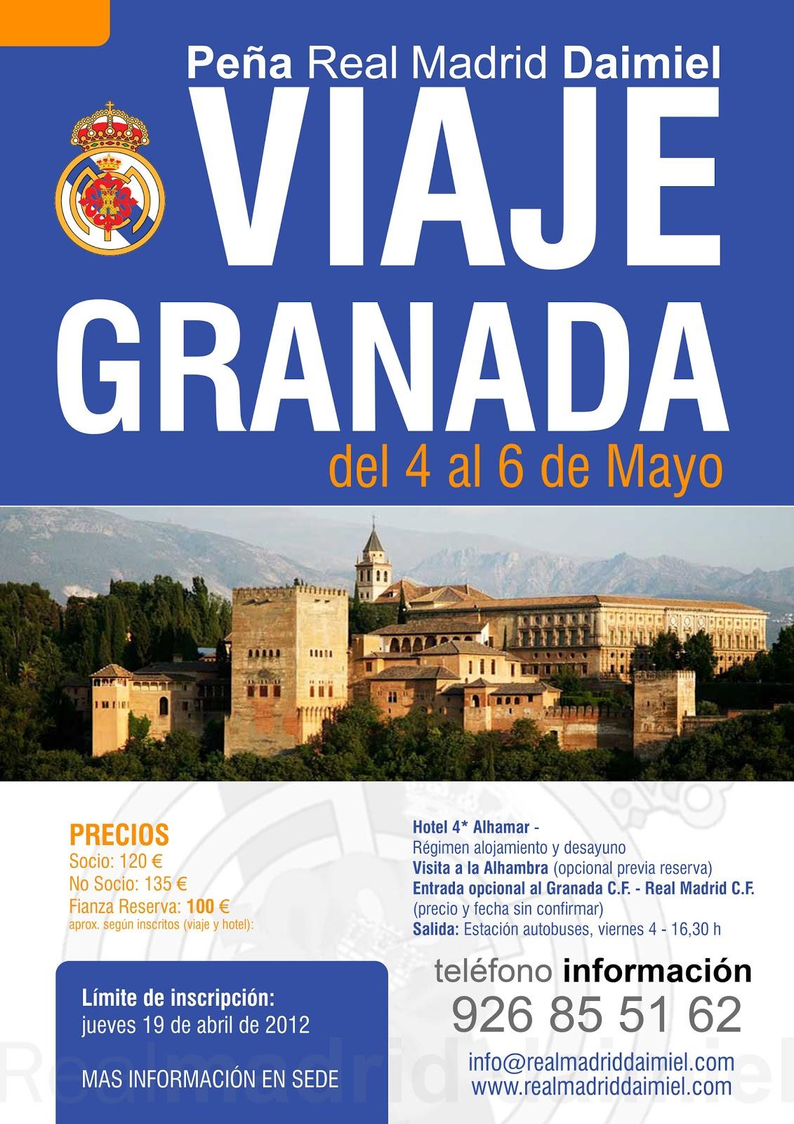 La Peña del Real Madrid de Daimiel va a realizar un viaje a Granada con  motivo del 60 aniversario de la misma. El viaje se va a realizar el fin de  semana ... fe4e5865a6517