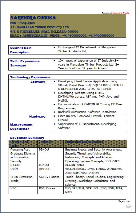 resume blog co  it incharge    it networking engineer