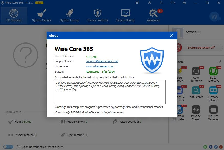 Saymoo007: Wise Care 365 PRO 4.21.406 + Serial Key [FREE] [Latest]