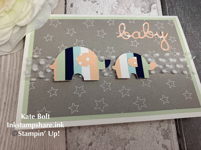 Baby card for the Inspire Create Challenges using The Little Elephant Punch and Twinkle Twinkle papers Stampin Up