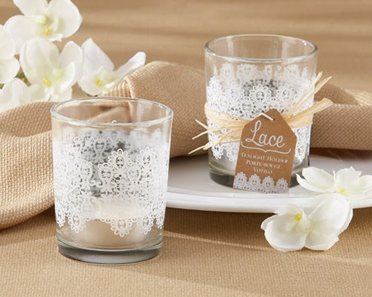 unique DIY wedding favors Lace Glass Tealight Holder
