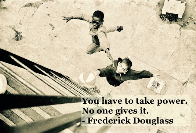 Photo of two black kids playing basketball. c 1950s Take Power quote by Fredrick Douglass. Other stories of Racism and Civil Rights. Well said, Mr. Douglass. marchmatron.com