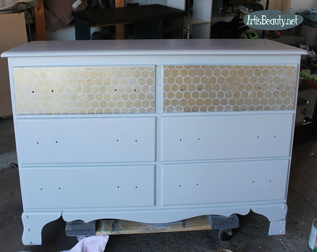 General finishes seagull gray americana decor honeywire stencil in gold dresser makeover before and after