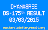 DHANASREE DS 175 Lottery Result 3-3-2015
