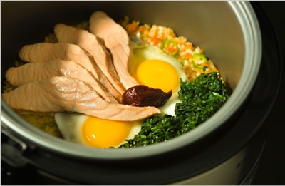 Rice Cooker Bibimbap With Salmon & Spinach