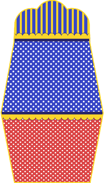 Azul, Rojo y Amarillo: Invitaciones con Forma de Bolso para Fiesta de 15 Años para Imprimir Gratis.
