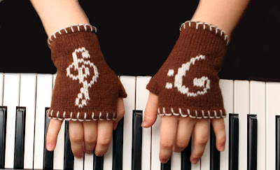 Fingerless Gloves with Musical Symbols