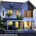 Small double storied 3 BHK house sloping roof style