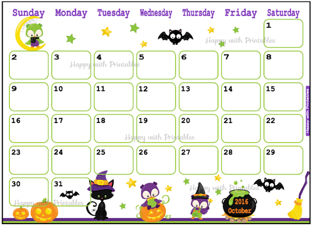 Printable Calendar October 2016 - Halloween planner - DIY Planner - Halloween theme
