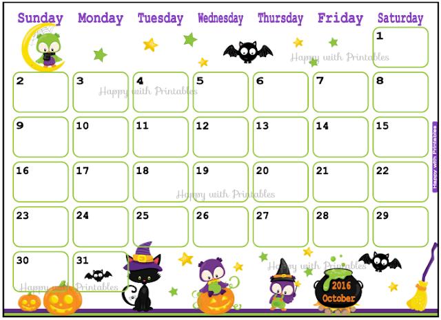 Printable Calendar October 2016 - Halloween planner - DIY Planner - Halloween theme