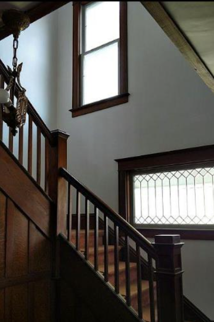 Sears Clyde No. 118 front staircase and leaded-glass window