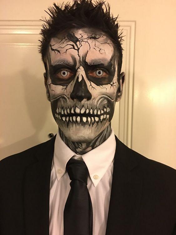 maquiagem caveira halloween 2018 para homem