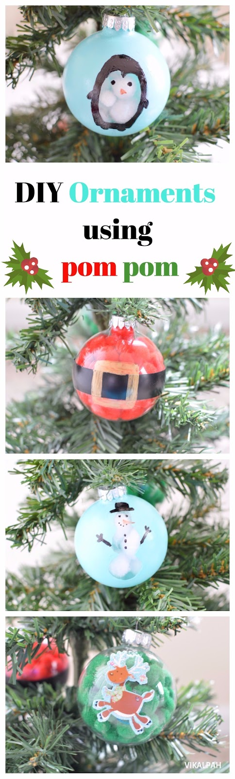 clear ornament ideas using pom pom