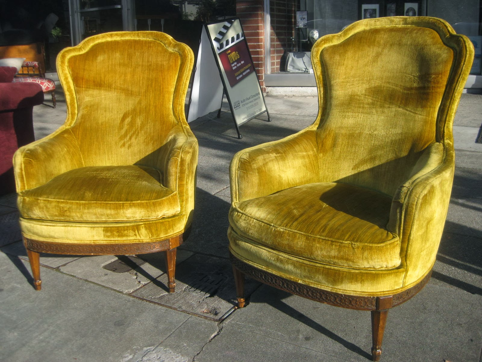 Gold Velvet Chair The Gripper Cushion Uhuru Furniture And Collectibles Sold Pair Of Golden