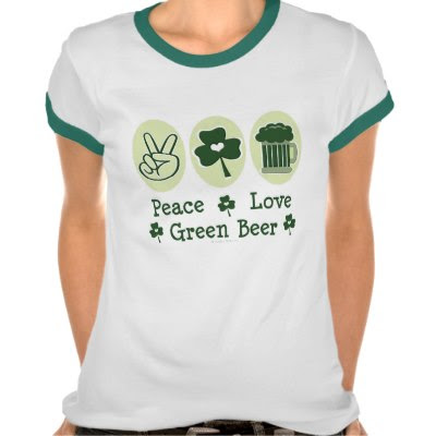 Peace, Love, Green Beer - Funny St. Pattys Day Tee