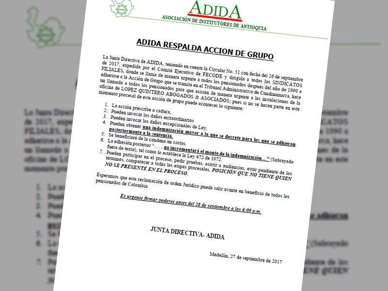 ADIDA respalda acción de grupo 27 sep 2017