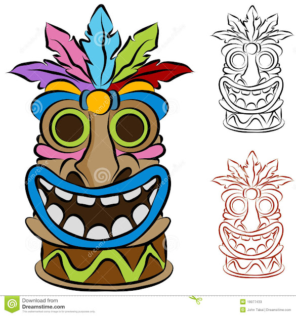 Cartoon Tiki Art  Cartoon Tiki Coloring Page