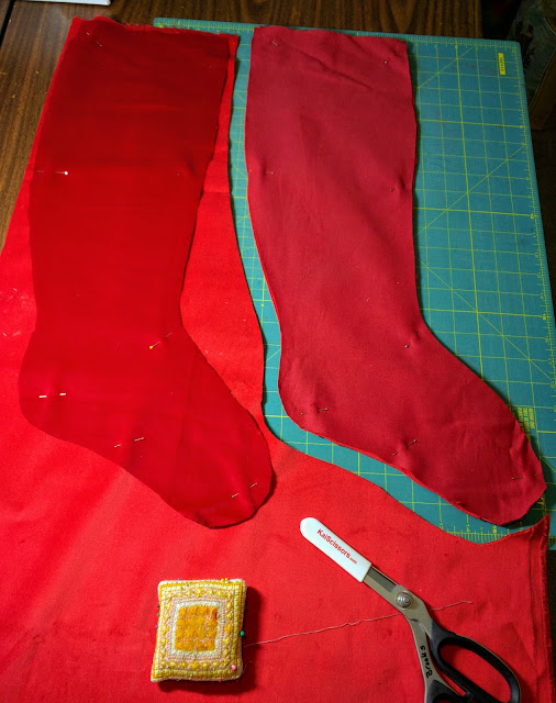 Cutting Christmas stockings from velveteen