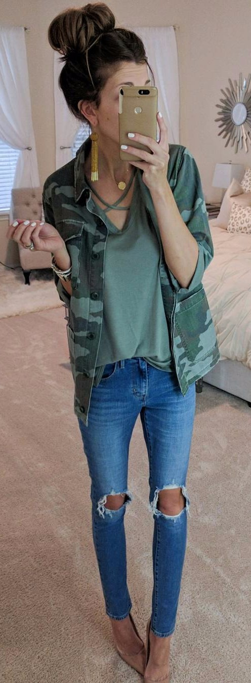 Camo + rips | my denim obsession
