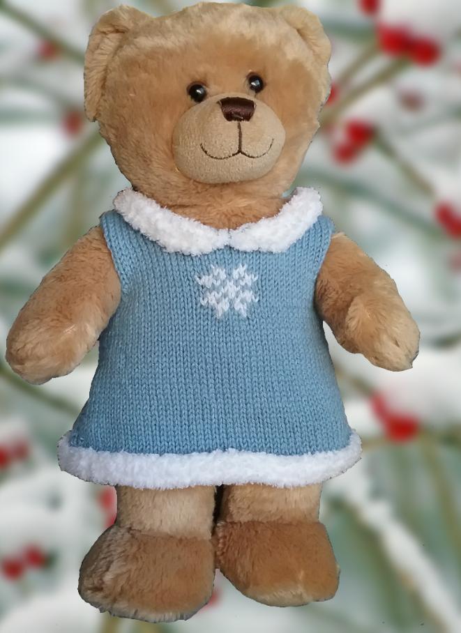 Linmary Knits: Teddy Bear snowflake dress