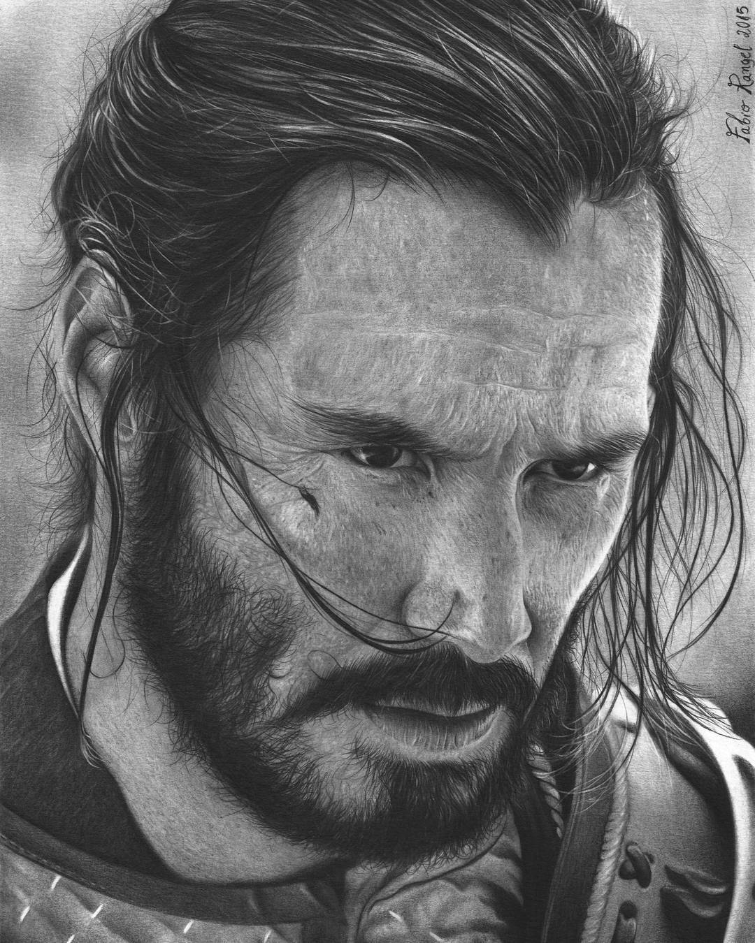21-Keanu-Reeves-Fabio-Rangel-Drawings-of-Protagonists-from-TV-and-Movies-www-designstack-co