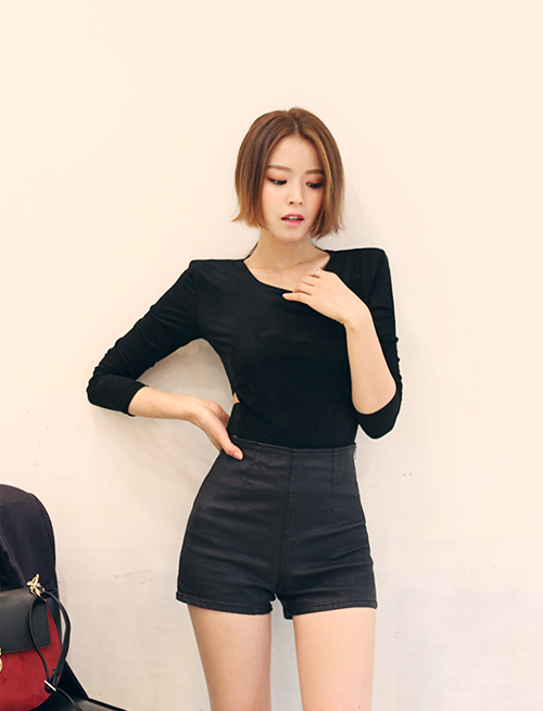 High-Waist Side Zip Cotton Shorts