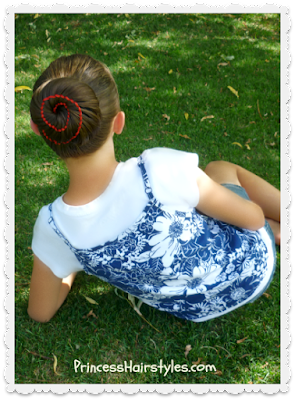 Gorgeous ribbon swirl bun hairstyle
