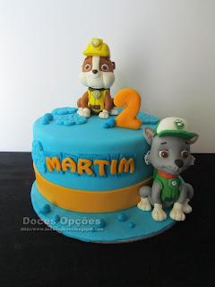 O Rocky e o Rubble da Patrulha Pata no aniversário do Martim