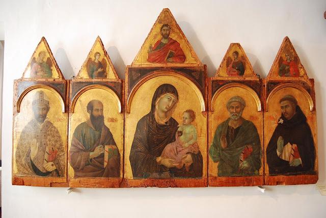 Madone et enfants, Duccio (XIVème siècle) – vue d'ensemble et détail