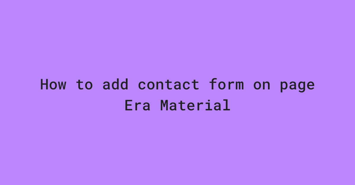 Contact form on page